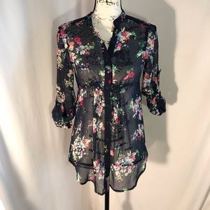 Express VNeck Rolled Sleeve Floral Print Blouse XS
